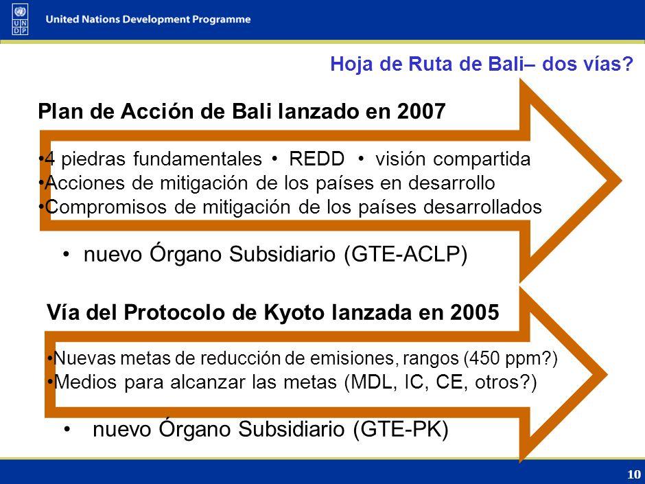 9 Hoja de Ruta de Bali – Resultados importantes Establece como plazo la CdP-15 (Copenhague), 2009 Reconocimiento que las acciones para el tratamiento