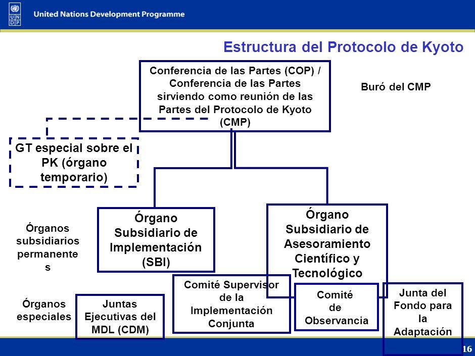15 Estructura de la Convención Conferencia de las Partes (COP) de la Convención Órgano Subsidiario de Implementación (SBI) Órgano Subsidiario de Asesoramiento Científicos y Tecnológico (SBSTA) Grupo Consultivo de Expertos en Comunic.