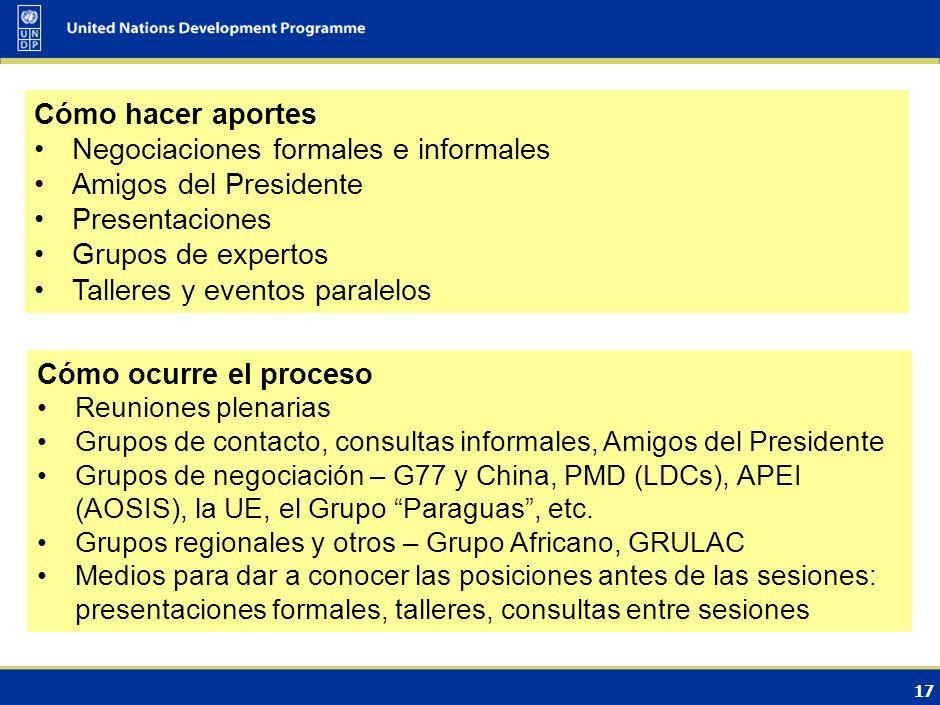 16 Estructura del Protocolo de Kyoto Conferencia de las Partes (COP) / Conferencia de las Partes sirviendo como reunión de las Partes del Protocolo de Kyoto (CMP) Órgano Subsidiario de Implementación (SBI) Órgano Subsidiario de Asesoramiento Científico y Tecnológico (SBSTA ) Juntas Ejecutivas del MDL (CDM) Junta del Fondo para la Adaptación Órganos subsidiarios permanente s Órganos especiales Buró del CMP Comité Supervisor de la Implementación Conjunta Comité de Observancia GT especial sobre el PK (órgano temporario)