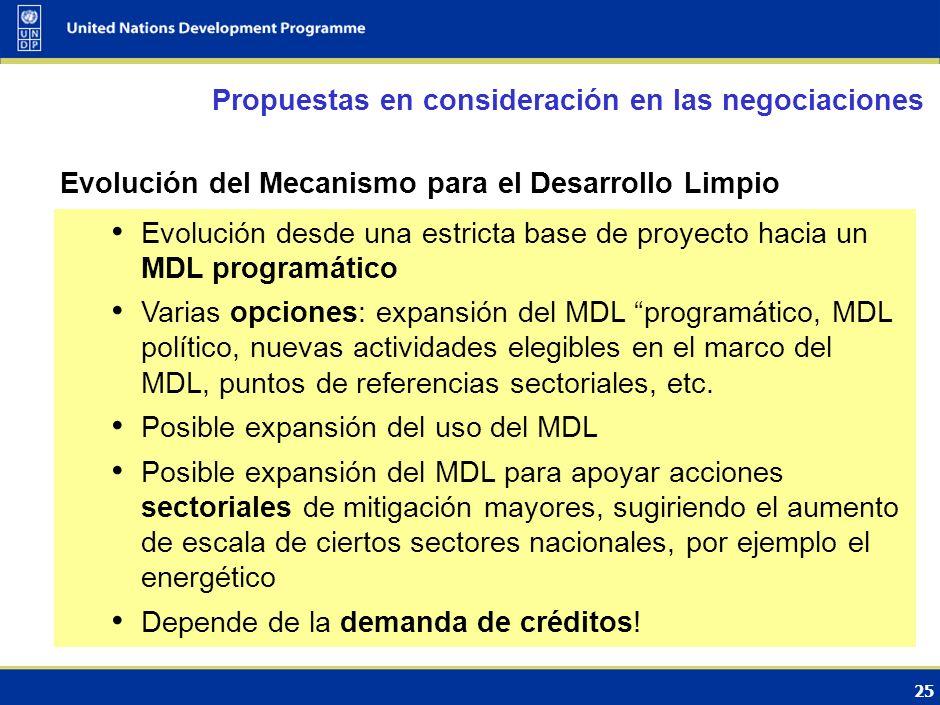 24 Evolución del Mecanismo para el Desarrollo Limpio Políticas y medidas de desarrollo sostenible (SD-PAMs) Enfoques sectoriales Propuestas relevantes