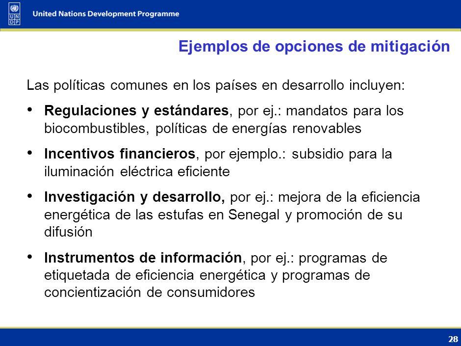27 Enfoques sectoriales Propuestas en consideración en las negociaciones Establecimiento de objetivos de mitigación para un sector económico específic