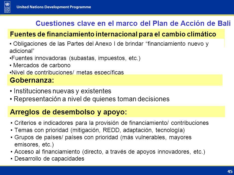 44 Fuentes financieras bajo la Convención y el Protocolo de Kyoto Fondo Fiduciario del FMAMMitigación, AdaptaciónMitigación: $3.3 bil. (1991-2010) Ada