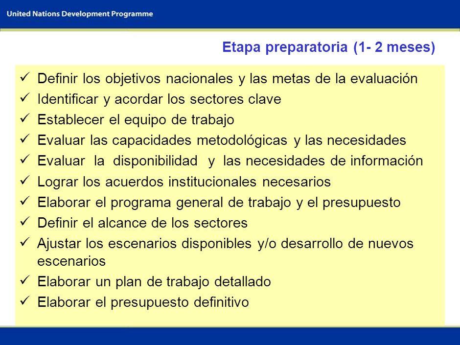 57 Evaluación de los flujos de I&F ¿Cuáles son las opciones de adaptación / mitigación para hasta 3 sectores seleccionados en los próximos 25 años? ¿Q