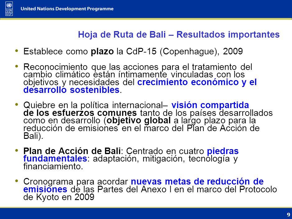 8 El Protocolo de Kyoto fijó metas vinculantes para las Partes del Anexo I Adoptado en 1997; entró en vigor en 2005. 184 Partes Reducción de las emisi