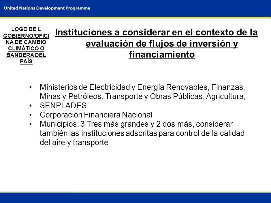 9 Recomendaciones para evaluar la inversión y los flujos financieros (II) LOGO DE L GOBIERNO/OFICI NA DE CAMBIO CLIMÁTICO O BANDERA DEL PAÍS Inversion