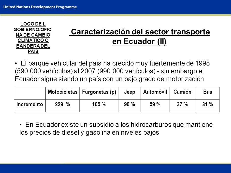 4 Caracterización del sector transporte en Ecuador (II) El parque vehicular del país ha crecido muy fuertemente de 1998 (590.000 vehículos) al 2007 (990.000 vehículos) - sin embargo el Ecuador sigue siendo un país con un bajo grado de motorización LOGO DE L GOBIERNO/OFICI NA DE CAMBIO CLIMÁTICO O BANDERA DEL PAÍS MotocicletasFurgonetas (p)JeepAutomóvilCamiónBus Incremento229 %105 %90 %59 %37 %31 % En Ecuador existe un subsidio a los hidrocarburos que mantiene los precios de diesel y gasolina en niveles bajos
