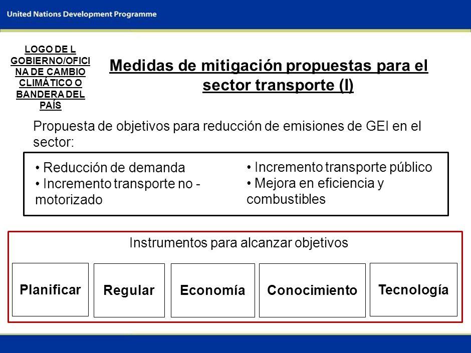 5 Medidas de mitigación propuestas para el sector transporte (I) Propuesta de objetivos para reducción de emisiones de GEI en el sector: LOGO DE L GOBIERNO/OFICI NA DE CAMBIO CLIMÁTICO O BANDERA DEL PAÍS Incremento transporte público Mejora en eficiencia y combustibles Reducción de demanda Incremento transporte no - motorizado Tecnología ConocimientoEconomíaRegular Planificar Instrumentos para alcanzar objetivos