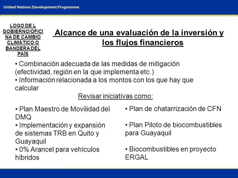 7 Alcance de una evaluación de la inversión y los flujos financieros Combinación adecuada de las medidas de mitigación (efectividad, región en la que implementa etc.) Información relacionada a los montos con los que hay que calcular Revisar iniciativas como: LOGO DE L GOBIERNO/OFICI NA DE CAMBIO CLIMÁTICO O BANDERA DEL PAÍS Plan Maestro de Movilidad del DMQ Implementación y expansión de sistemas TRB en Quito y Guayaquil 0% Arancel para vehículos híbridos Plan de chatarrización de CFN Plan Piloto de biocombustibles para Guayaquil Biocombustibles en proyecto ERGAL