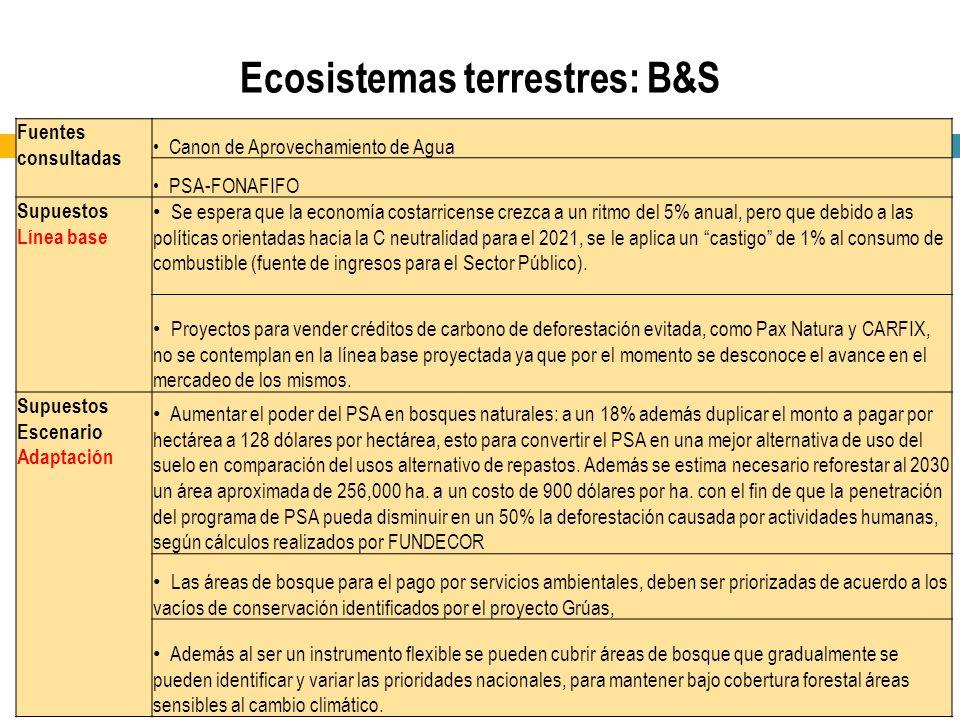 Ecosistemas terrestres: B&S Fuentes consultadas Canon de Aprovechamiento de Agua PSA-FONAFIFO Supuestos Línea base Se espera que la economía costarric