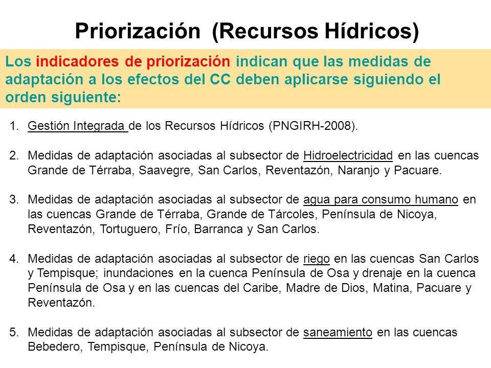 Priorización (Recursos Hídricos) 1.Gestión Integrada de los Recursos Hídricos (PNGIRH-2008). 2.Medidas de adaptación asociadas al subsector de Hidroel