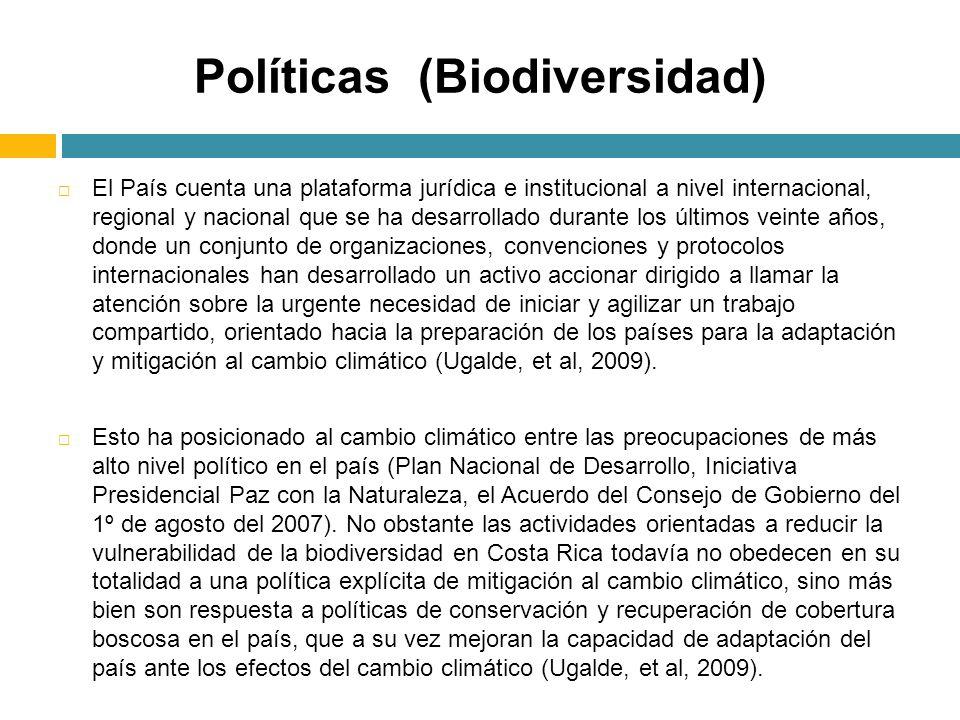 Políticas (Biodiversidad) El País cuenta una plataforma jurídica e institucional a nivel internacional, regional y nacional que se ha desarrollado dur