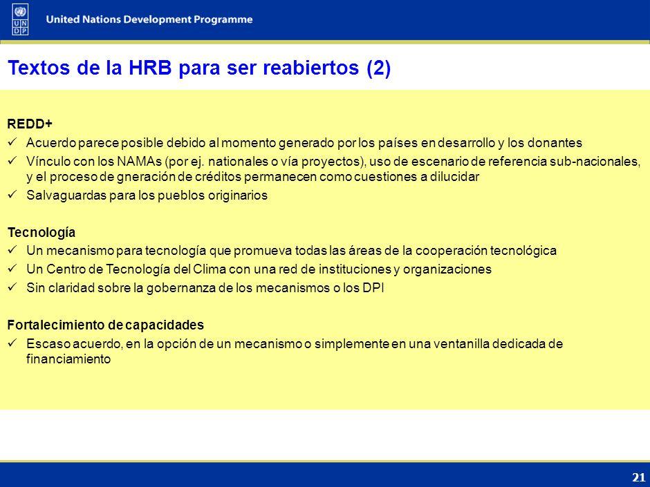 20 Textos de la HRB para ser reabiertos (1) Bajo el Plan de Acción de Bali/Vía de la Convención (GTE-ACL): Mitigación Las Partes continúan con dificul