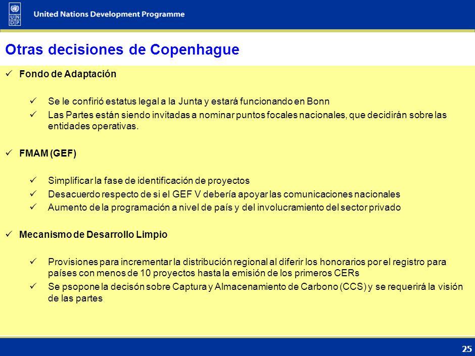 24 Acuerdo de Copenhague (3) Tres cuestiones claves : Estatus de asociación a enero 31, 2010 Apoyo de los mayores emisores, bajo diferentes modalidade