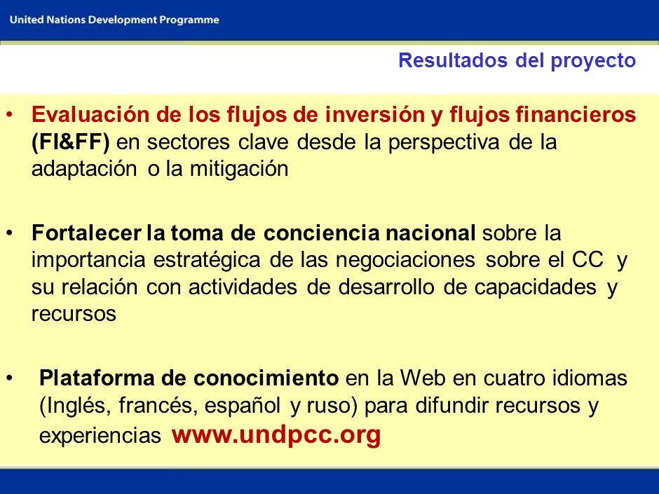 2 Objetivos del proyecto Estimar los flujos de inversión necesarios para enfrentar el cambio climático en sectores claves; Contribuir a desarrollar po