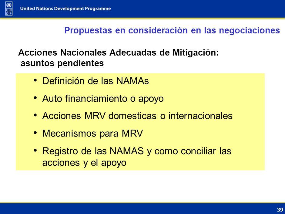 38 Acciones Nacionales Adecuadas de Mitigación (NAMAs en inglés) Reforma y expansión del Mecanismo para el Desarrollo Limpio Políticas y medidas de de