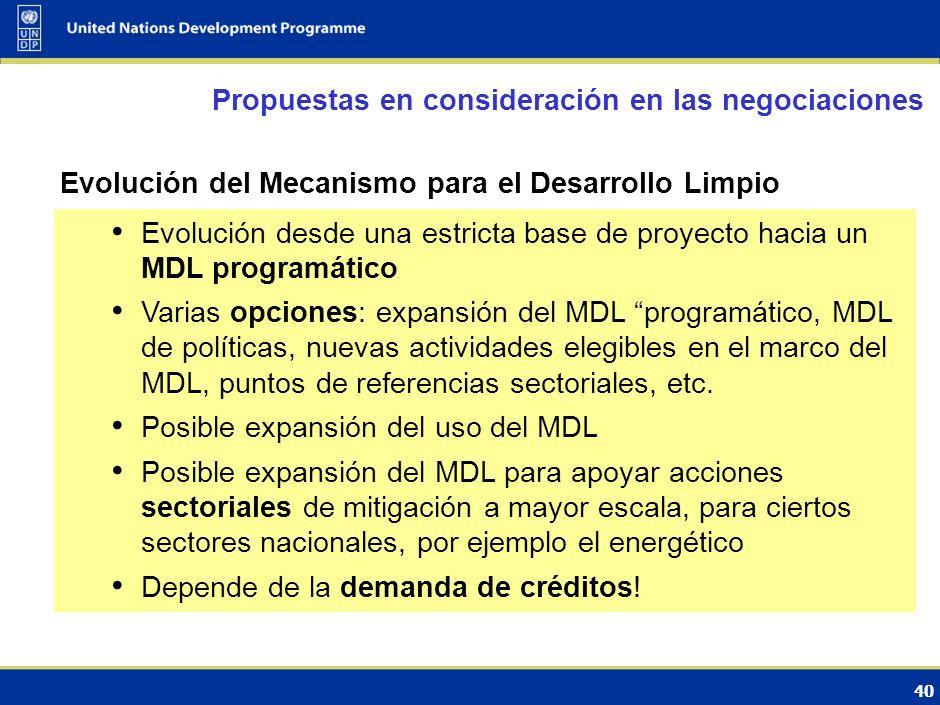 39 Acciones Nacionales Adecuadas de Mitigación: asuntos pendientes Propuestas en consideración en las negociaciones Definición de las NAMAs Auto finan