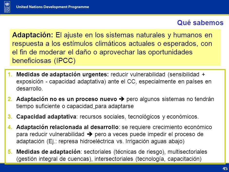 44 Impactos hoy y recurrentes - Adaptación Urgente Cuarto Informe de evaluación del IPCC (2007) Cambio de la Temperatura anual promedio mundial respec