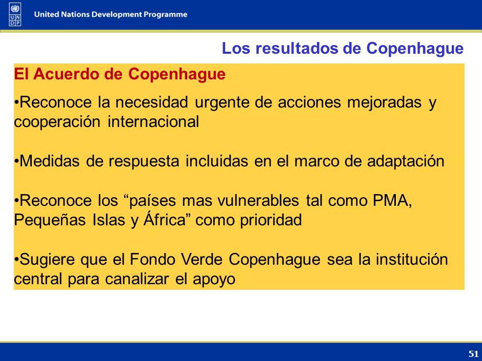50 Los resultados de Copenhague El texto de la COP Avances en términos de asuntos pendientes relacionados a financiación, apoyo tecnológico y creación
