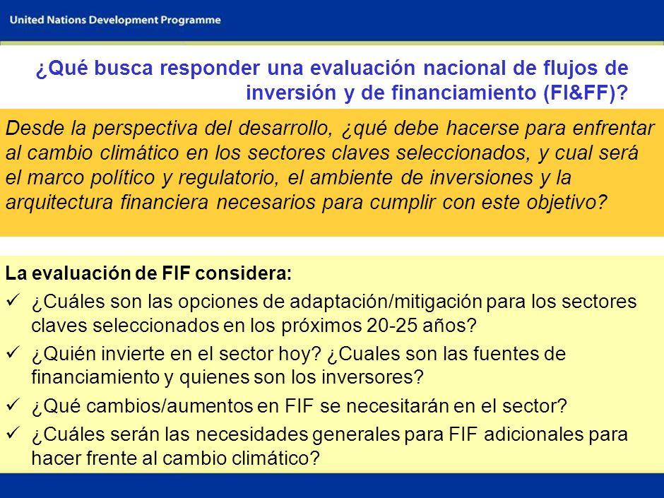6 La evaluación de FIF considera: ¿Cuáles son las opciones de adaptación/mitigación para los sectores claves seleccionados en los próximos 20-25 años.
