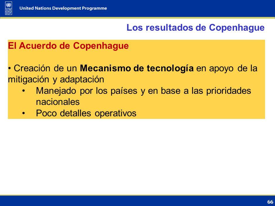 65 Los resultados de Copenhague El texto de la CP Importantes avances en la reducción a cuestiones de detalle Propone establecer un Mecanismo de tecno