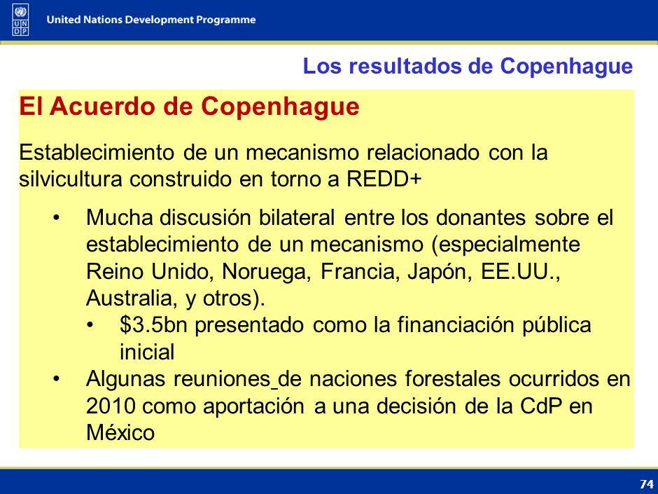 73 Los resultados de Copenhague REDD+ Acuerdo parece probable debido al impulso general de los donantes y los países en desarrollo Cuestiones pendient