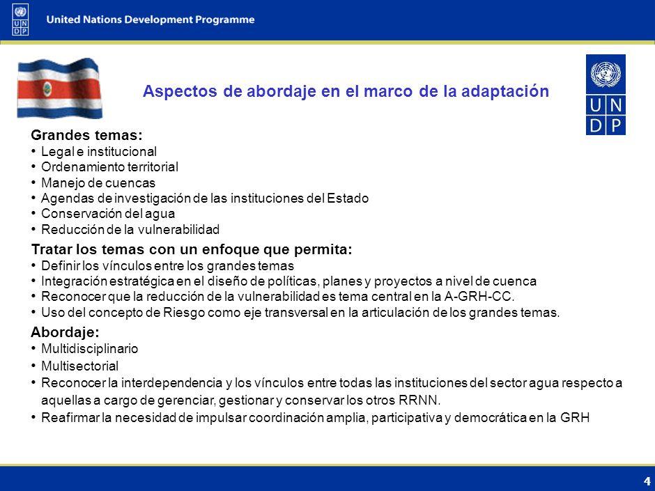 3 Medidas de adaptación (opciones) Medidas de adaptación en la GRH planteadas en el Marco Regional de Adaptación al CC para los RH en Centroamérica.