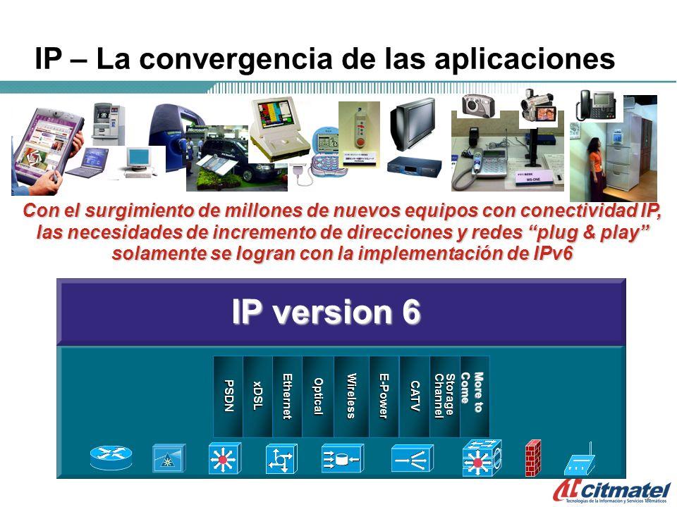 222 Con el surgimiento de millones de nuevos equipos con conectividad IP, las necesidades de incremento de direcciones y redes plug & play solamente se logran con la implementación de IPv6 IP – La convergencia de las aplicaciones EthernetOpticalE-PowerWirelessStorageChannelCATV P S DN xDSL IP version 6 More to Come
