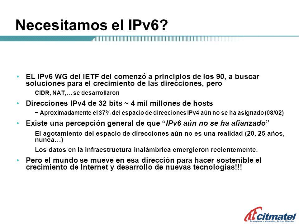 444 Ipv4: asignación de direcciones 1981 - se publica el IPv4 1985 ~ 1/16 del espacio total 1990 ~ 1/8 del espacio total 1995 ~ 1/3 del espacio total 2000 ~ 1/2 del espacio total 2003 ~ del espacio total Aún a pesar de los esfuerzos continuos por conservar el espacio de direcciones PPP / DHCP NAT (network address translation) CIDR (classless inter-domain routing) algunas reclamaciones de direcc.
