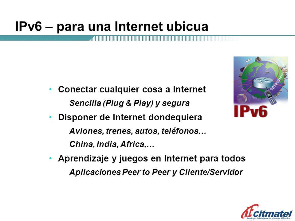 999 IPv6 – para una Internet ubicua Conectar cualquier cosa a Internet Sencilla (Plug & Play) y segura Disponer de Internet dondequiera Aviones, trenes, autos, teléfonos… China, India, Africa,… Aprendizaje y juegos en Internet para todos Aplicaciones Peer to Peer y Cliente/Servidor
