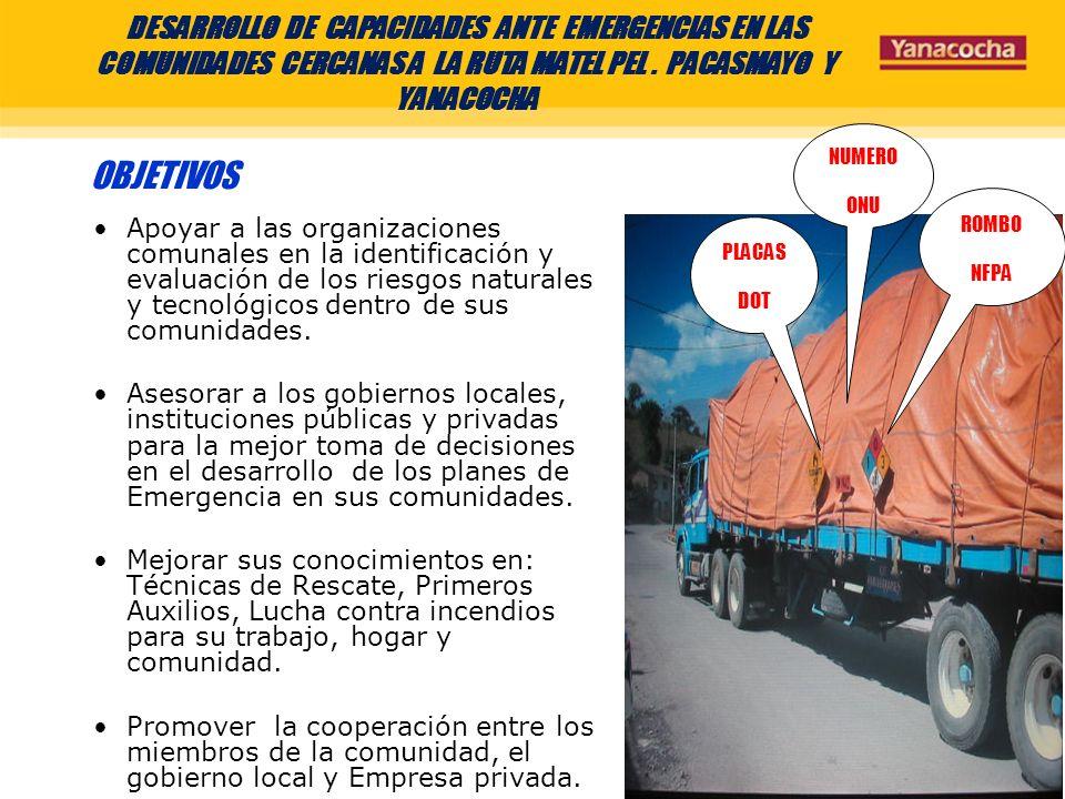 DESARROLLO DE CAPACIDADES ANTE EMERGENCIAS DE LAS COMUNIDADES CERCANAS A LA RUTA MATEL PEL.