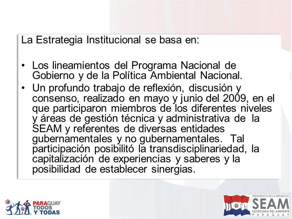 La Estrategia Institucional se basa en: Los lineamientos del Programa Nacional de Gobierno y de la Política Ambiental Nacional.