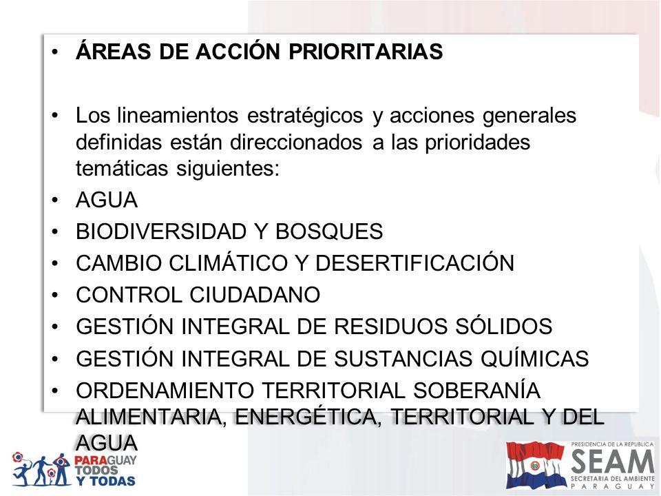 ÁREAS DE ACCIÓN PRIORITARIAS Los lineamientos estratégicos y acciones generales definidas están direccionados a las prioridades temáticas siguientes: AGUA BIODIVERSIDAD Y BOSQUES CAMBIO CLIMÁTICO Y DESERTIFICACIÓN CONTROL CIUDADANO GESTIÓN INTEGRAL DE RESIDUOS SÓLIDOS GESTIÓN INTEGRAL DE SUSTANCIAS QUÍMICAS ORDENAMIENTO TERRITORIAL SOBERANÍA ALIMENTARIA, ENERGÉTICA, TERRITORIAL Y DEL AGUA ÁREAS DE ACCIÓN PRIORITARIAS Los lineamientos estratégicos y acciones generales definidas están direccionados a las prioridades temáticas siguientes: AGUA BIODIVERSIDAD Y BOSQUES CAMBIO CLIMÁTICO Y DESERTIFICACIÓN CONTROL CIUDADANO GESTIÓN INTEGRAL DE RESIDUOS SÓLIDOS GESTIÓN INTEGRAL DE SUSTANCIAS QUÍMICAS ORDENAMIENTO TERRITORIAL SOBERANÍA ALIMENTARIA, ENERGÉTICA, TERRITORIAL Y DEL AGUA