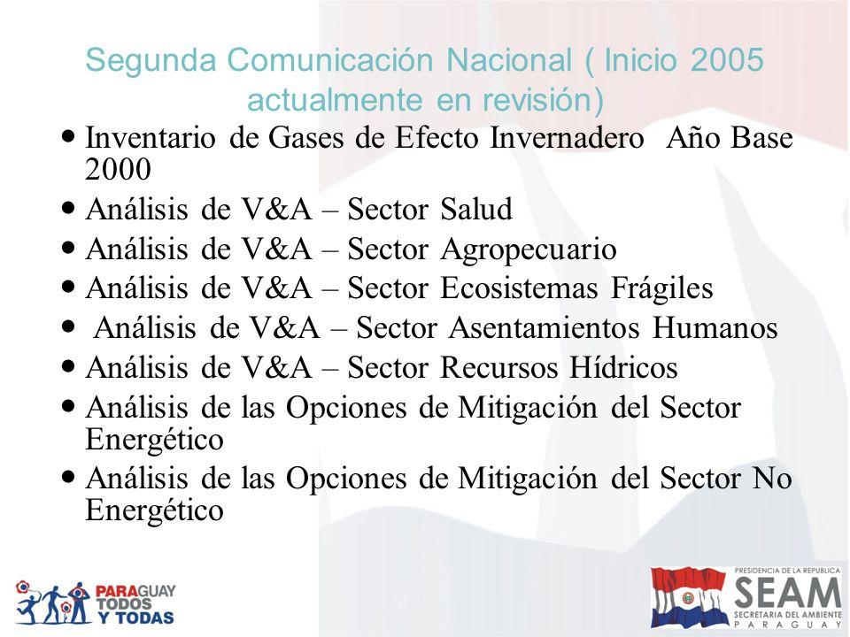 Segunda Comunicación Nacional ( Inicio 2005 actualmente en revisión) Inventario de Gases de Efecto Invernadero Año Base 2000 Análisis de V&A – Sector
