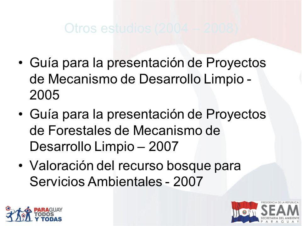 Otros estudios (2004 – 2008) Guía para la presentación de Proyectos de Mecanismo de Desarrollo Limpio - 2005 Guía para la presentación de Proyectos de Forestales de Mecanismo de Desarrollo Limpio – 2007 Valoración del recurso bosque para Servicios Ambientales - 2007
