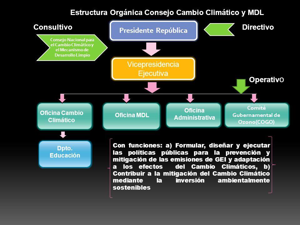 Presidente República Vicepresidencia Ejecutiva Comité Gubernamental de Ozono(COGO) Consejo Nacional para el Cambio Climático y el Mecanismo de Desarrollo Limpio ConsultivoDirectivo Operativ o Oficina Cambio Climático Oficina MDL Dpto.