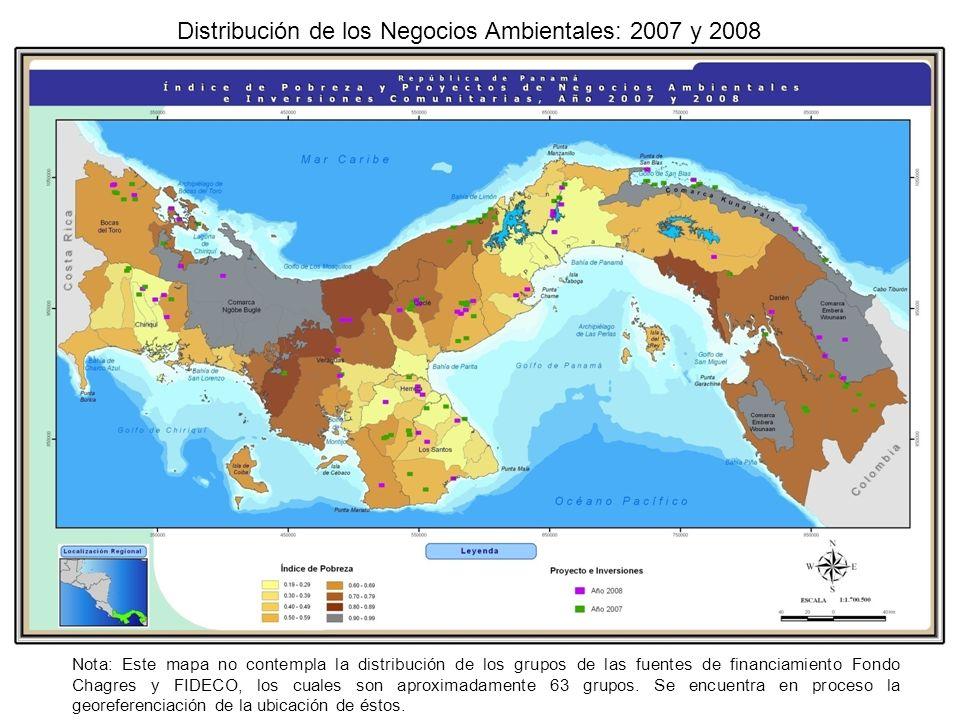 Nota: Este mapa no contempla la distribución de los grupos de las fuentes de financiamiento Fondo Chagres y FIDECO, los cuales son aproximadamente 63 grupos.