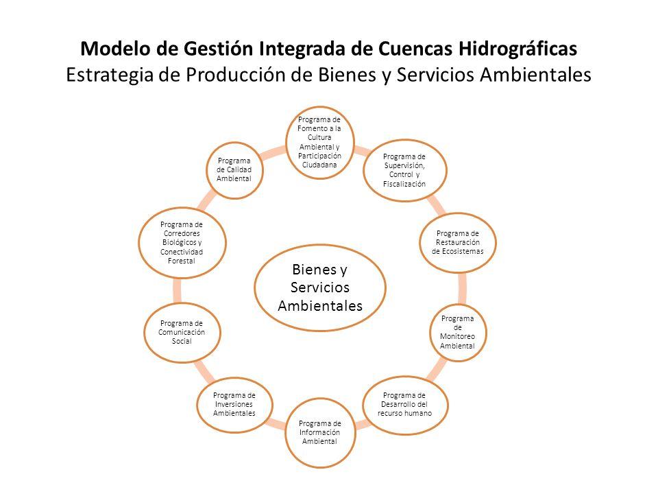 Modelo de Gestión Integrada de Cuencas Hidrográficas Estrategia de Producción de Bienes y Servicios Ambientales Bienes y Servicios Ambientales Programa de Fomento a la Cultura Ambiental y Participación Ciudadana Programa de Supervisión, Control y Fiscalización Programa de Restauración de Ecosistemas Programa de Monitoreo Ambiental Programa de Desarrollo del recurso humano Programa de Información Ambiental Programa de Inversiones Ambientales Programa de Comunicación Social Programa de Corredores Biológicos y Conectividad Forestal Programa de Calidad Ambiental