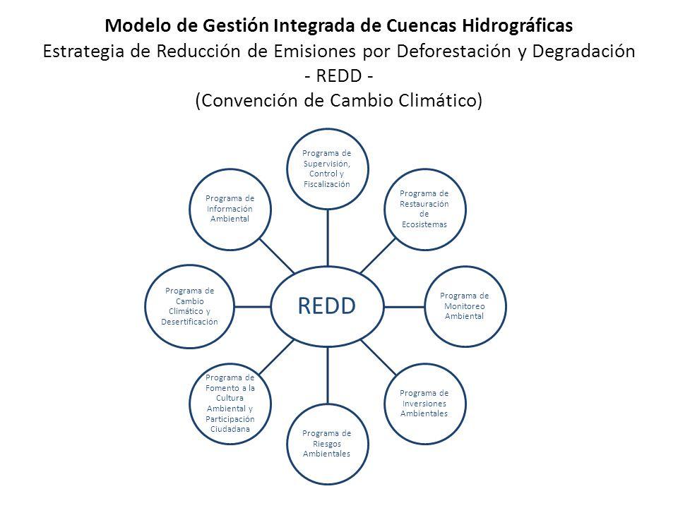Modelo de Gestión Integrada de Cuencas Hidrográficas Estrategia de Reducción de Emisiones por Deforestación y Degradación - REDD - (Convención de Cambio Climático) REDD Programa de Supervisión, Control y Fiscalización Programa de Restauración de Ecosistemas Programa de Monitoreo Ambiental Programa de Inversiones Ambientales Programa de Riesgos Ambientales Programa de Fomento a la Cultura Ambiental y Participación Ciudadana Programa de Cambio Climático y Desertificación Programa de Información Ambiental