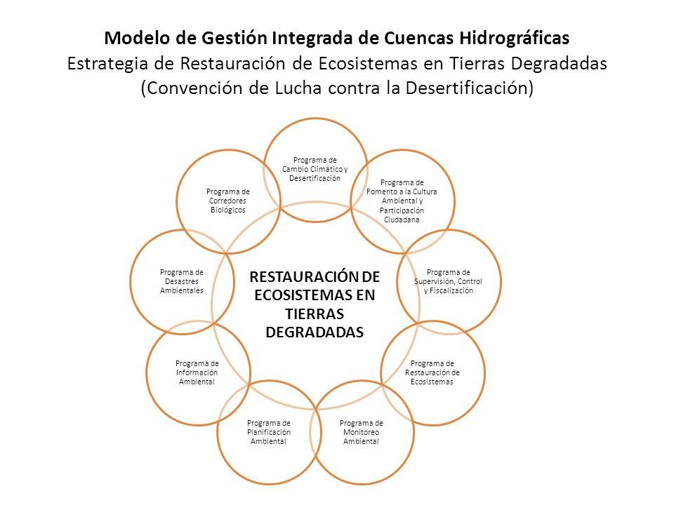 Modelo de Gestión Integrada de Cuencas Hidrográficas Estrategia de Restauración de Ecosistemas en Tierras Degradadas (Convención de Lucha contra la Desertificación) RESTAURACIÓN DE ECOSISTEMAS EN TIERRAS DEGRADADAS Programa de Cambio Climático y Desertificación Programa de Fomento a la Cultura Ambiental y Participación Ciudadana Programa de Supervisión, Control y Fiscalización Programa de Restauración de Ecosistemas Programa de Monitoreo Ambiental Programa de Planificación Ambiental Programa de Información Ambiental Programa de Desastres Ambientales Programa de Corredores Biológicos