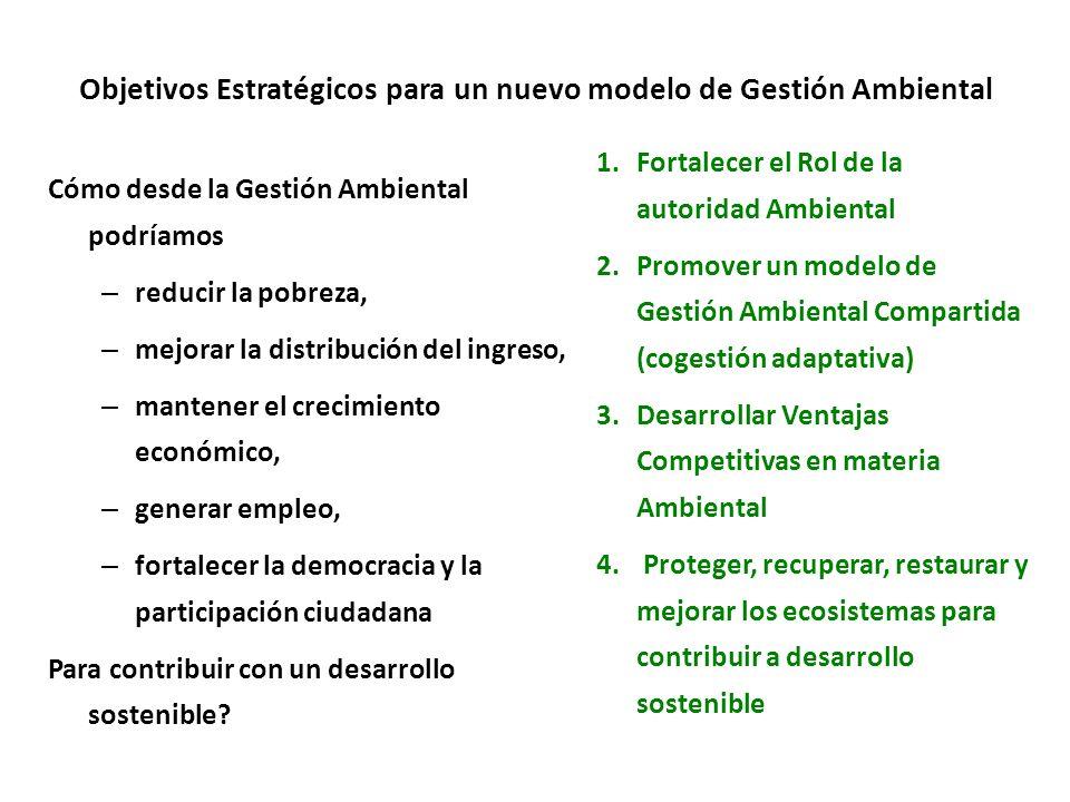 Objetivos Estratégicos para un nuevo modelo de Gestión Ambiental Cómo desde la Gestión Ambiental podríamos – reducir la pobreza, – mejorar la distribución del ingreso, – mantener el crecimiento económico, – generar empleo, – fortalecer la democracia y la participación ciudadana Para contribuir con un desarrollo sostenible.