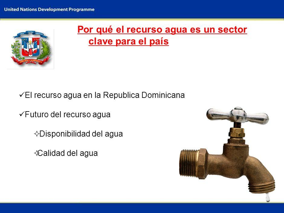 1 Por qué el recurso agua es un sector clave para el país El recurso agua en la Republica Dominicana Futuro del recurso agua Disponibilidad del agua Calidad del agua