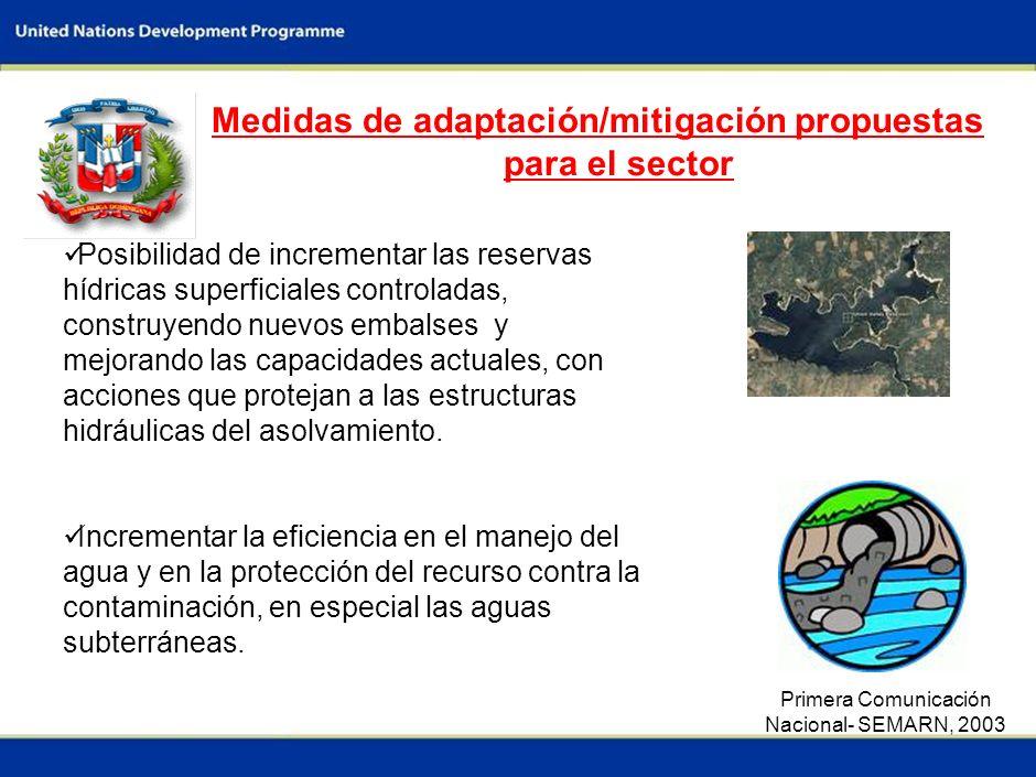 5 Medidas de adaptación/mitigación propuestas para el sector Posibilidad de incrementar las reservas hídricas superficiales controladas, construyendo nuevos embalses y mejorando las capacidades actuales, con acciones que protejan a las estructuras hidráulicas del asolvamiento.