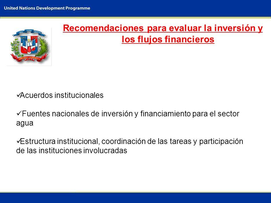 9 Recomendaciones para evaluar la inversión y los flujos financieros Acuerdos institucionales Fuentes nacionales de inversión y financiamiento para el sector agua Estructura institucional, coordinación de las tareas y participación de las instituciones involucradas
