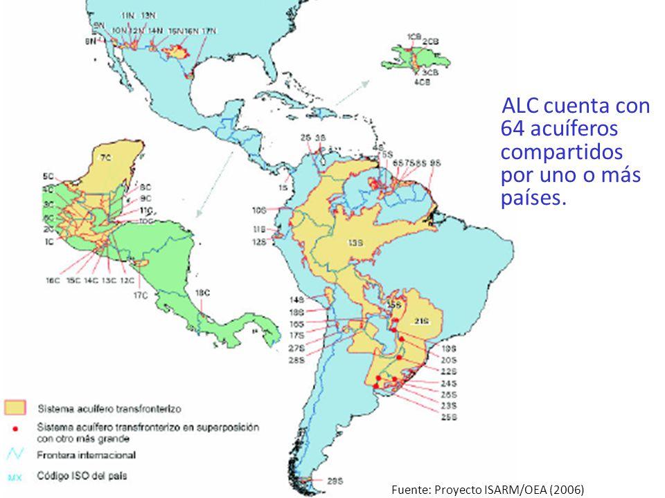 ALC cuenta con 64 acuíferos compartidos por uno o más países. Fuente: Proyecto ISARM/OEA (2006)