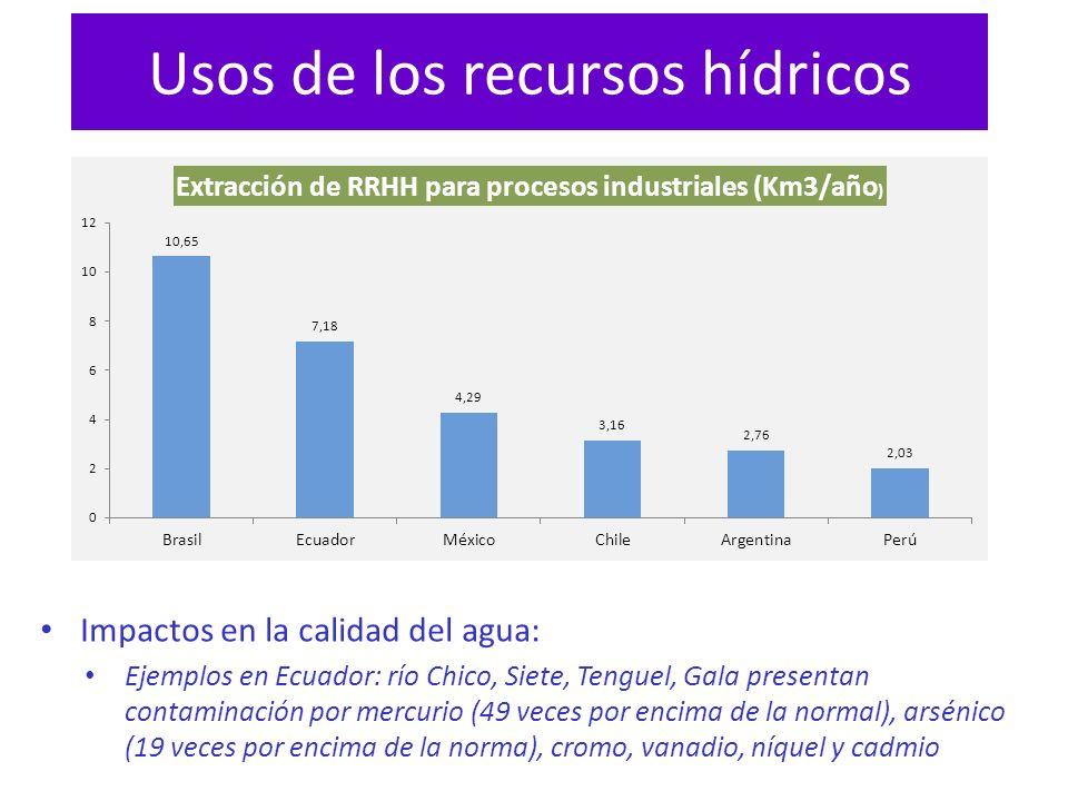 Usos de los recursos hídricos Impactos en la calidad del agua: Ejemplos en Ecuador: río Chico, Siete, Tenguel, Gala presentan contaminación por mercur