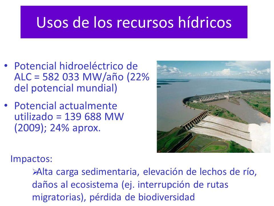 Usos de los recursos hídricos Potencial hidroeléctrico de ALC = 582 033 MW/año (22% del potencial mundial) Potencial actualmente utilizado = 139 688 M