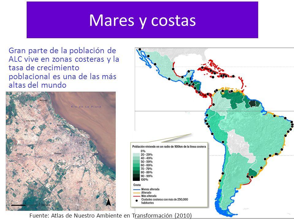 Mares y costas Gran parte de la población de ALC vive en zonas costeras y la tasa de crecimiento poblacional es una de las más altas del mundo Fuente: