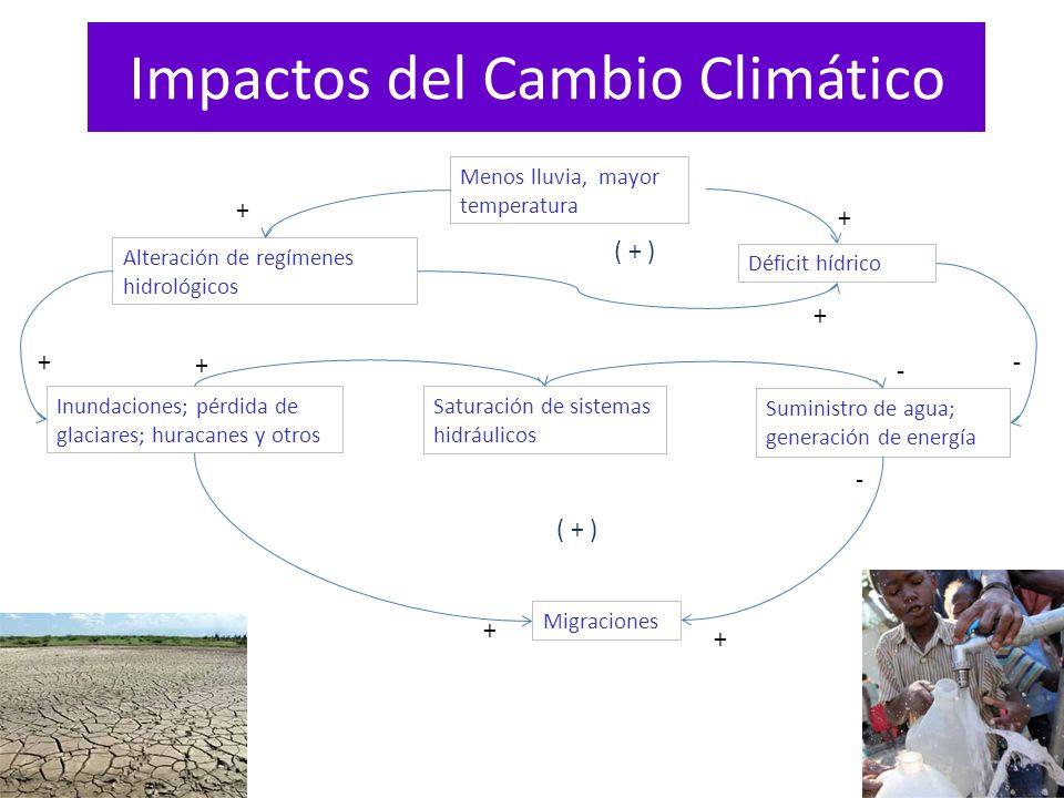 Impactos del Cambio Climático Menos lluvia, mayor temperatura Alteración de regímenes hidrológicos Déficit hídrico Inundaciones; pérdida de glaciares;