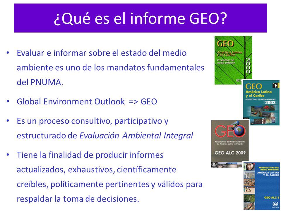 ¿Qué es el informe GEO? Evaluar e informar sobre el estado del medio ambiente es uno de los mandatos fundamentales del PNUMA. Global Environment Outlo