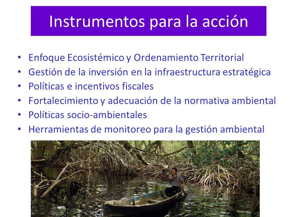 Instrumentos para la acción Enfoque Ecosistémico y Ordenamiento Territorial Gestión de la inversión en la infraestructura estratégica Políticas e ince